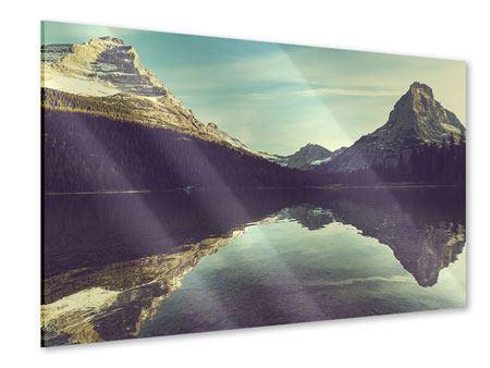 Acrylglasbild Spiegelung im Bergsee