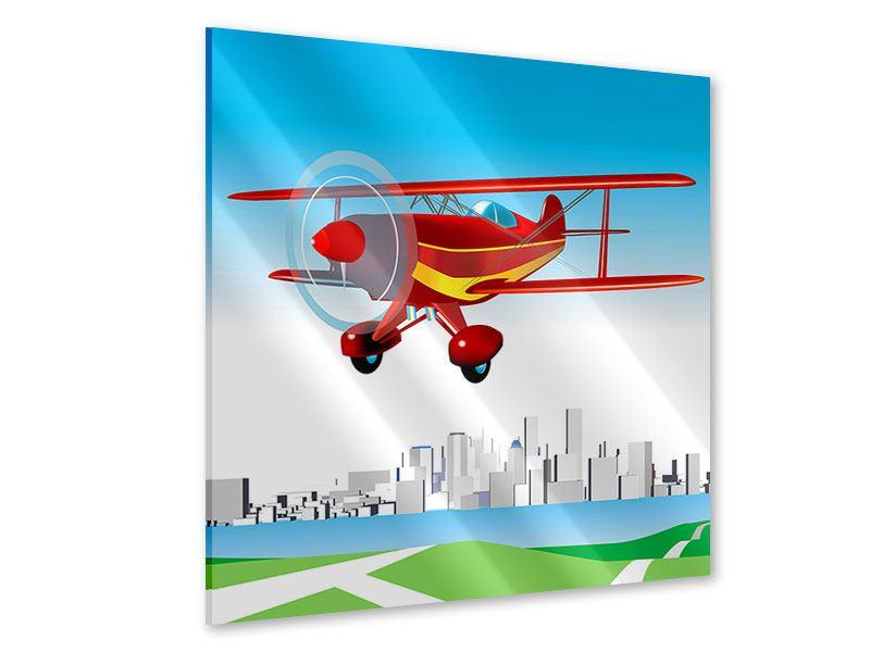 Acrylglasbild Fliegendes Flugzeug