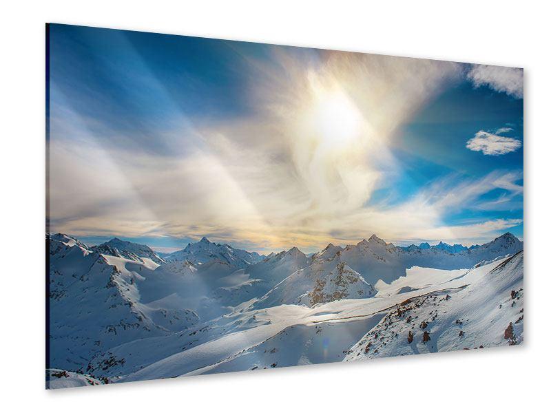 Acrylglasbild Über den verschneiten Gipfeln