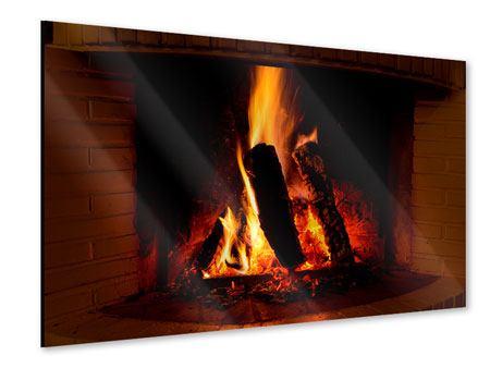 Acrylglasbild Feuer im Kamin