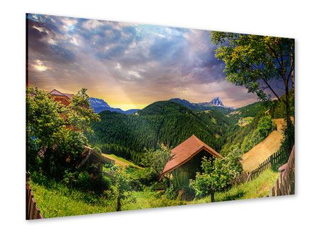 Acrylglasbild Schweizer Berge im Sommer