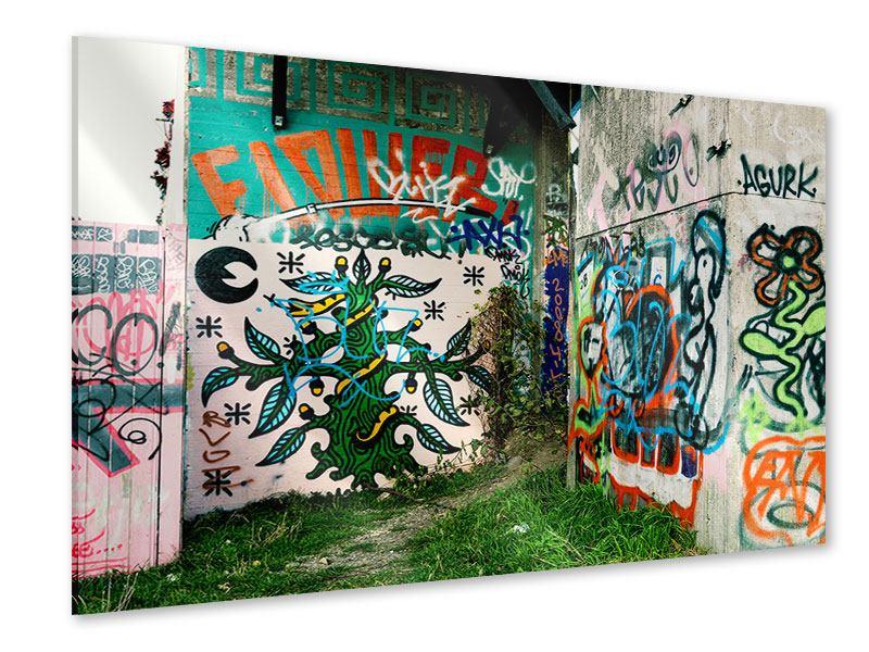 Acrylglasbild Graffiti im Hinterhof
