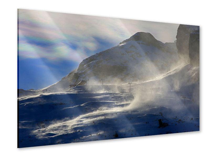 Acrylglasbild Mit Schneeverwehungen den Berg in Szene gesetzt