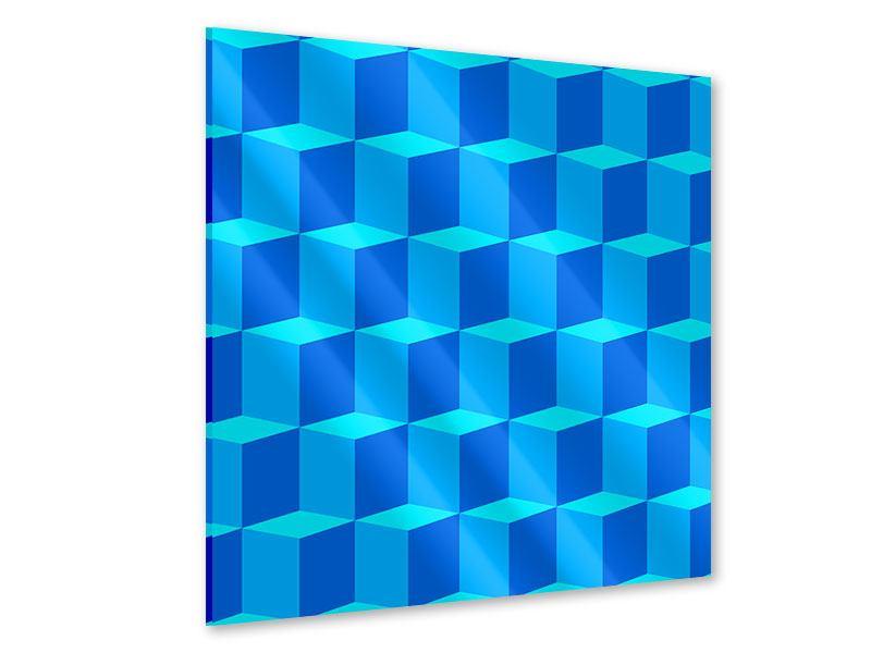 Acrylglasbild 3D-Würfel Türkis