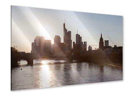 Acrylglasbild Skyline Sonnenaufgang bei Frankfurt am Main