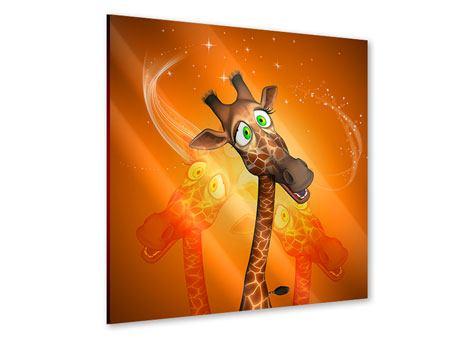 Acrylglasbild Giraffen Besuch