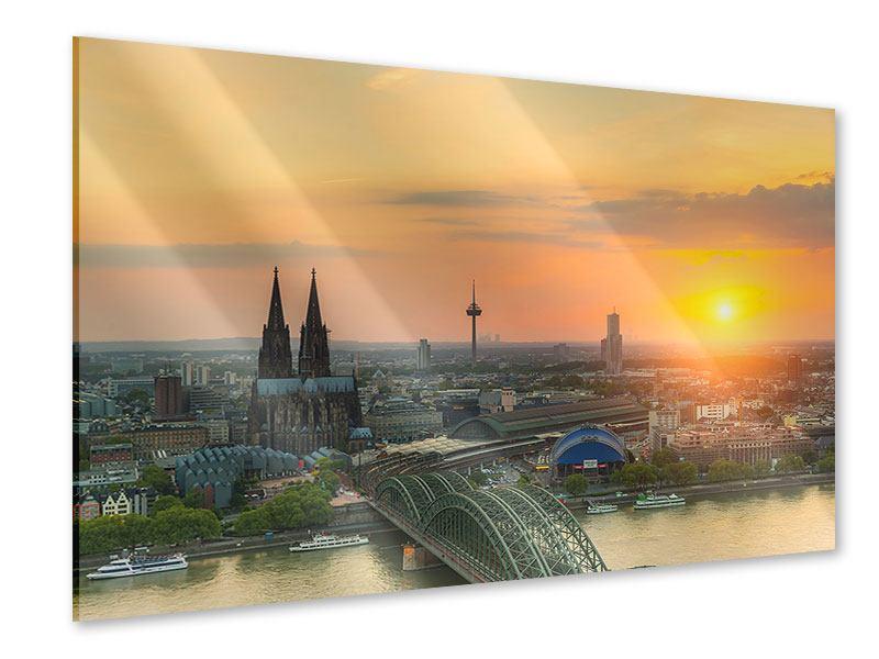 Acrylglasbild Skyline Köln bei Sonnenuntergang