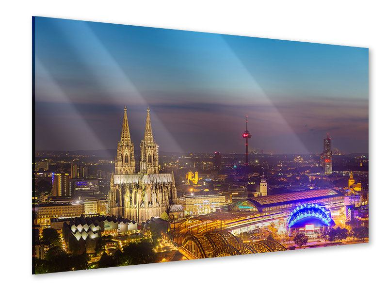 Acrylglasbild Skyline Kölner Dom bei Nacht