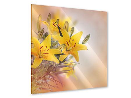 Acrylglasbild Gelbes Lilientrio
