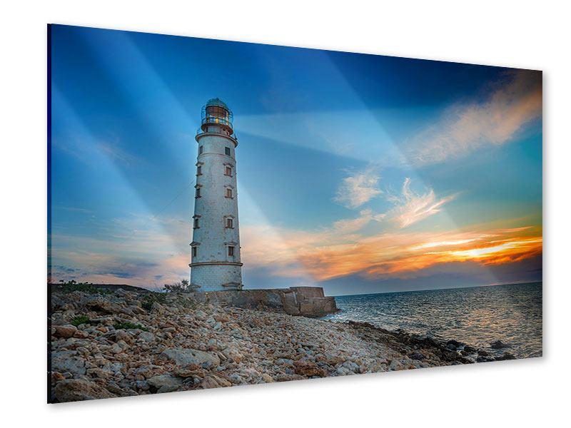 Acrylglasbild Sonnenuntergang am Leuchtturm