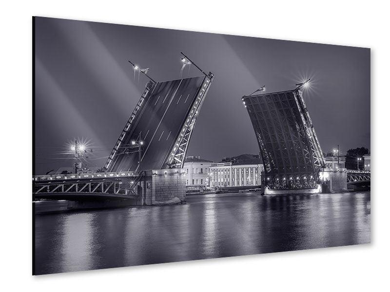 Acrylglasbild Klappbrücke bei Nacht