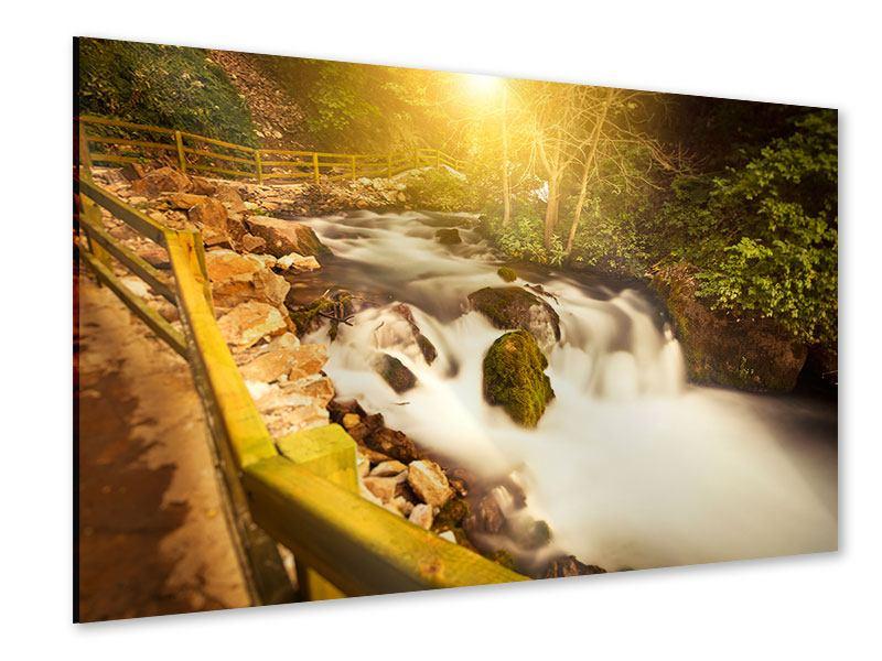 Acrylglasbild Sonnenuntergang am Wasserfall