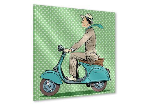 Acrylglasbild Pop Art Vespafahrer