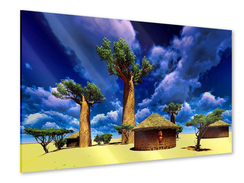 Acrylglasbild Ein Dorf in Afrika