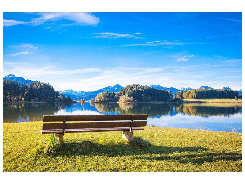 Acrylglasbild Sitzbank mit Bergpanorama