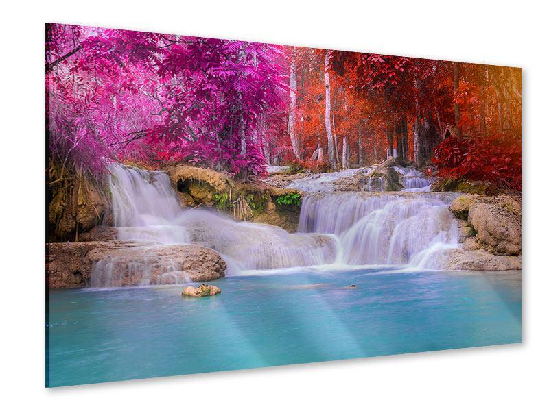 Acrylglasbild Paradiesischer Wasserfall