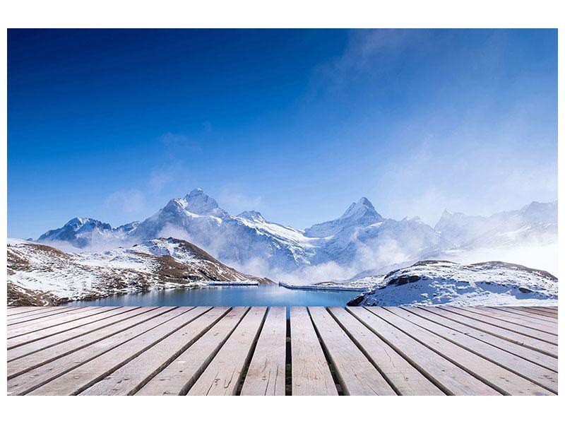 Acrylglasbild Sonnenterrasse am Schweizer Bergsee