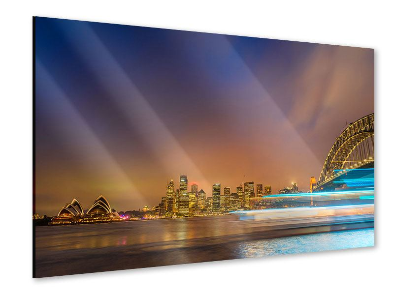 Acrylglasbild Skyline Opera House in Sydney im Abendlicht