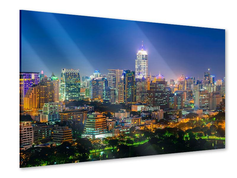 Acrylglasbild Skyline One Night in Bangkok