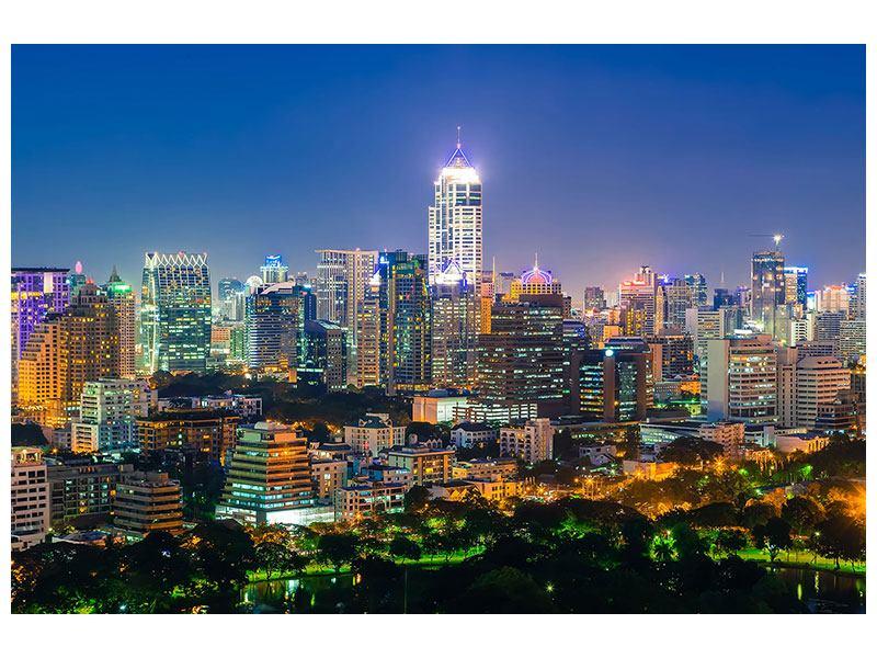 Acrylglasbild Skyline One Night in Bangkok