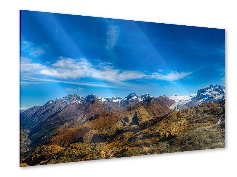 Acrylglasbild Schweizer Alpen im Frühling