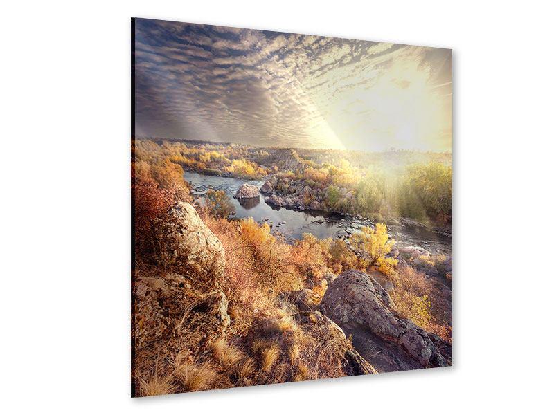 Acrylglasbild Sonnenaufgang am Fluss
