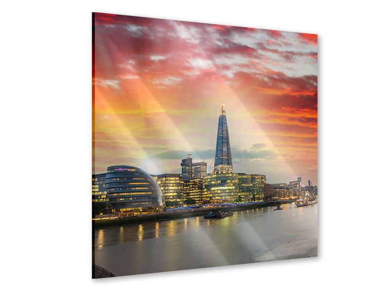 Acrylglasbild Skyline London im Abendrot