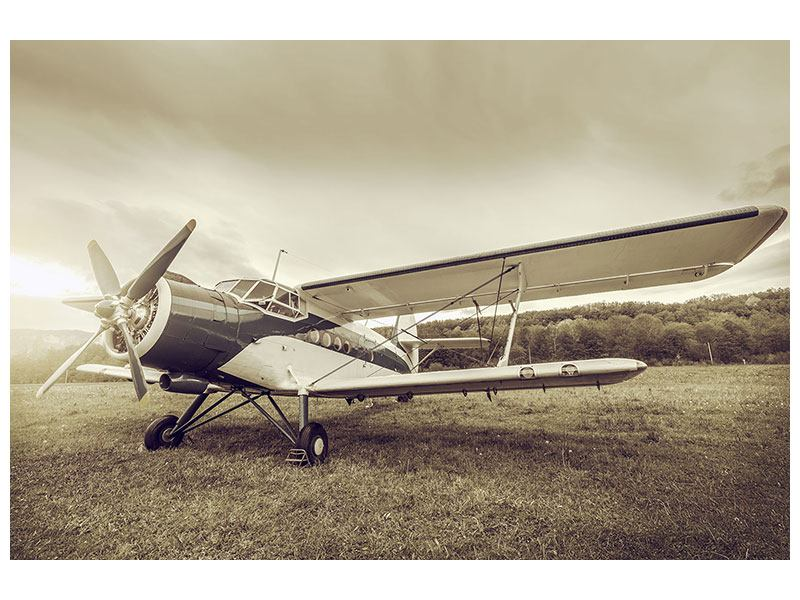 Acrylglasbild Nostalgisches Flugzeug im Retrostyle