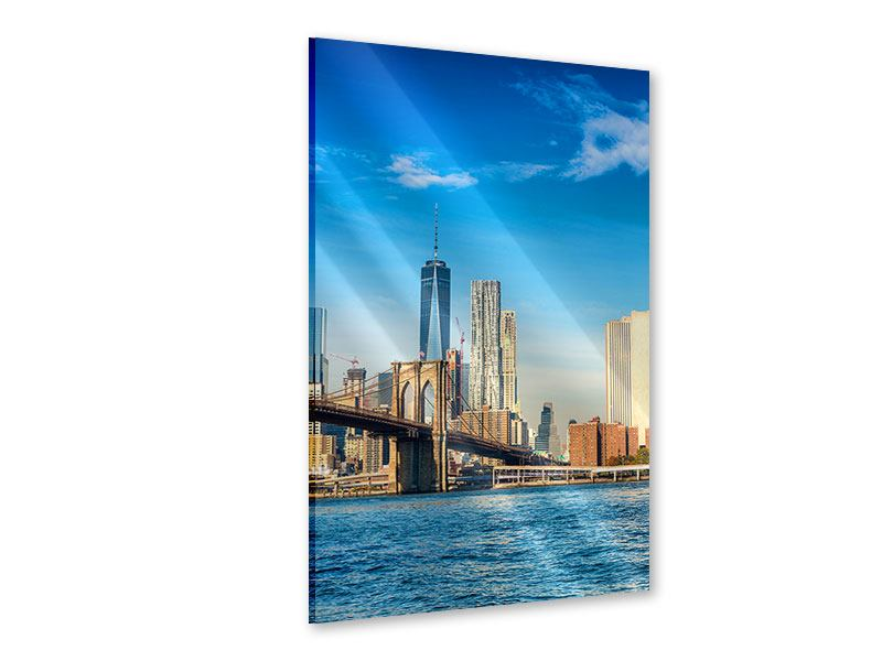 Acrylglasbild Skyline New York and Brooklyn Bridge