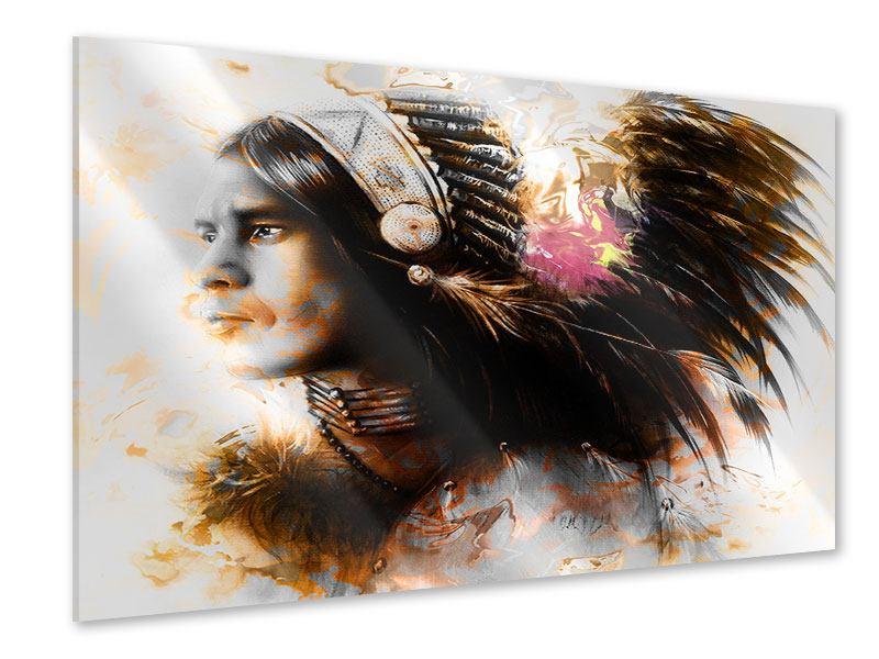 Acrylglasbild Kunstvolles Indianer-Portrait