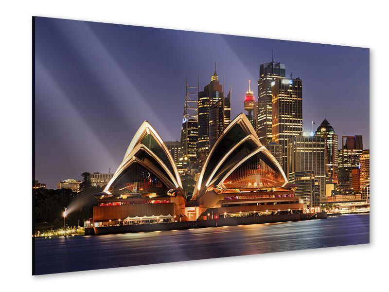 Acrylglasbild Skyline Mit dem Boot vor Sydney