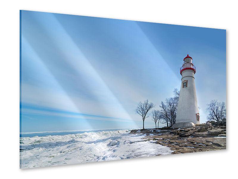 Acrylglasbild Leuchtturm im Schnee