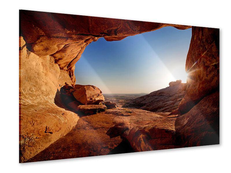 Acrylglasbild Sonnenuntergang vor der Höhle