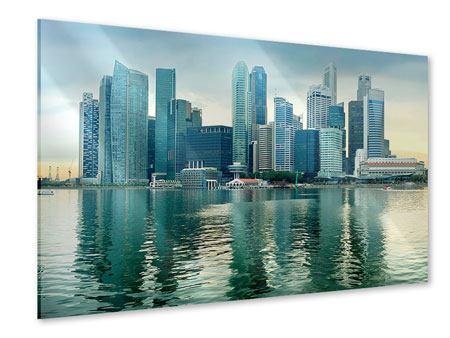 Acrylglasbild Skyline Sonnenaufgang in Singapur