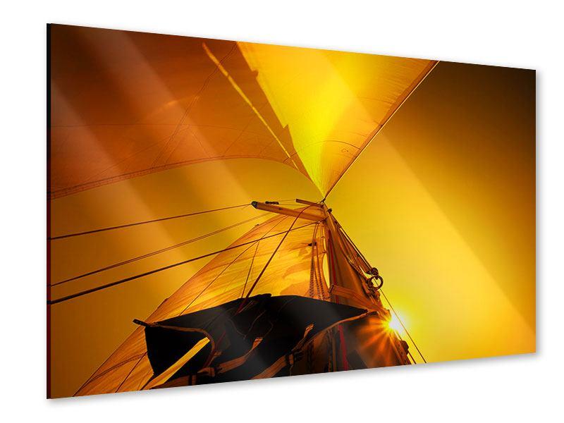 Acrylglasbild Segelboot im Sonnenuntergang