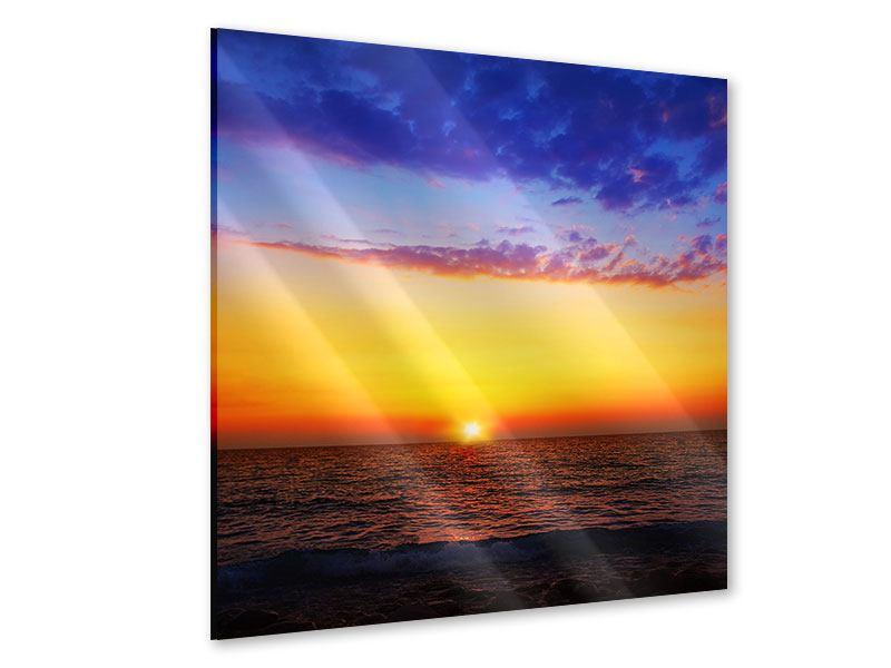 Acrylglasbild Leuchtender Sonnenuntergang