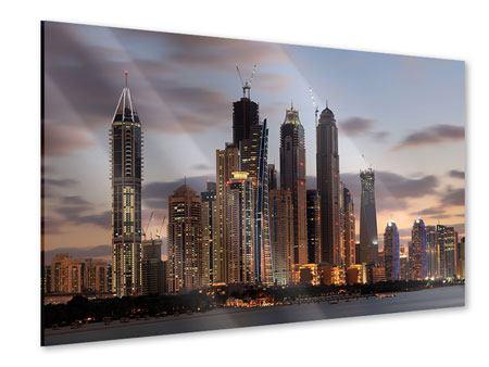 Acrylglasbild Skyline Dubai bei Sonnenuntergang