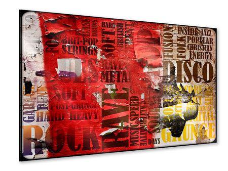 Acrylglasbild Musiktext im Grungestil