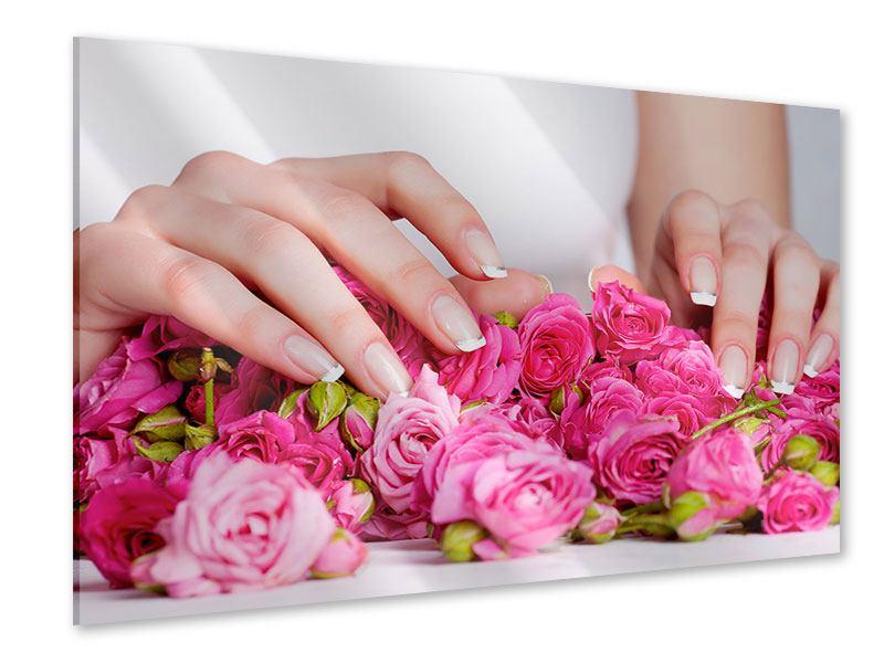 Acrylglasbild Hände auf Rosen gebettet