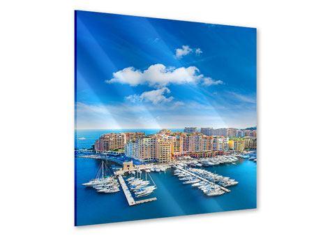 Acrylglasbild Skyline Panoramablick Jachthafen Monaco