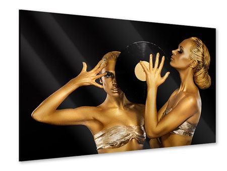 Acrylglasbild Gold-DJ`s