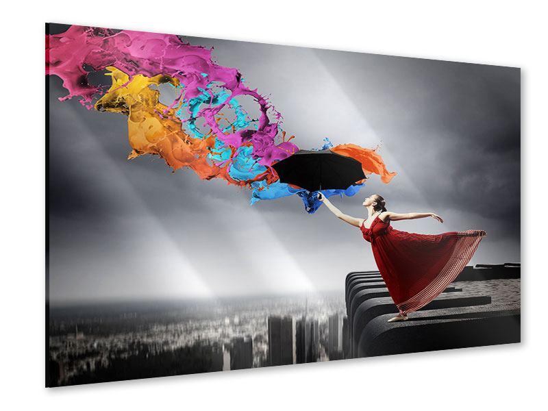 Acrylglasbild Tanz auf dem Wolkenkratzer