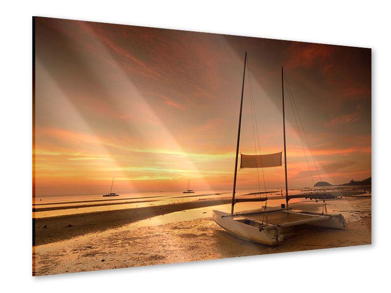 Acrylglasbild Sonnenuntergang am Strand