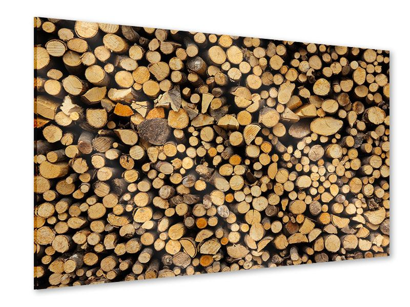Acrylglasbild Brennholz