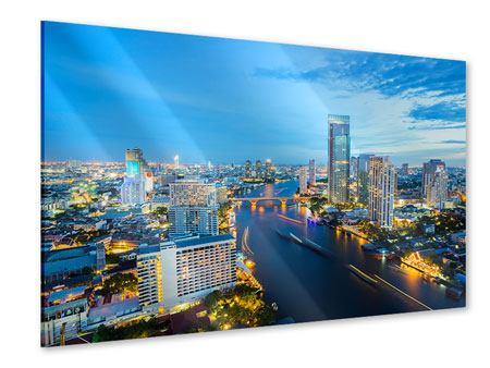 Acrylglasbild Skyline Bangkok in der Abenddämmerung