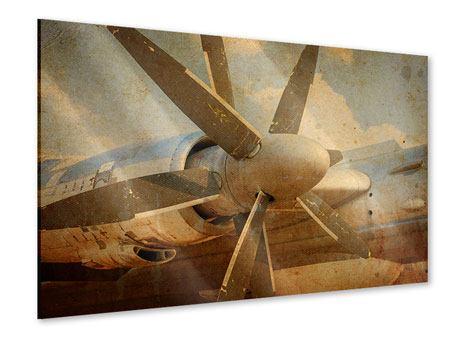 Acrylglasbild Propellerflugzeug im Grungestil