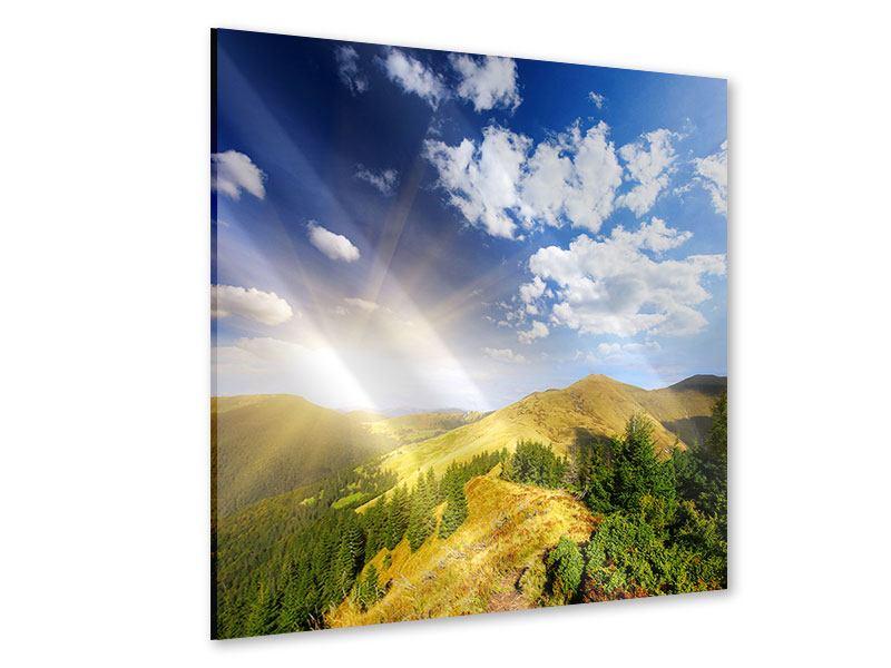 Acrylglasbild Sonnenaufgang im Gebirge