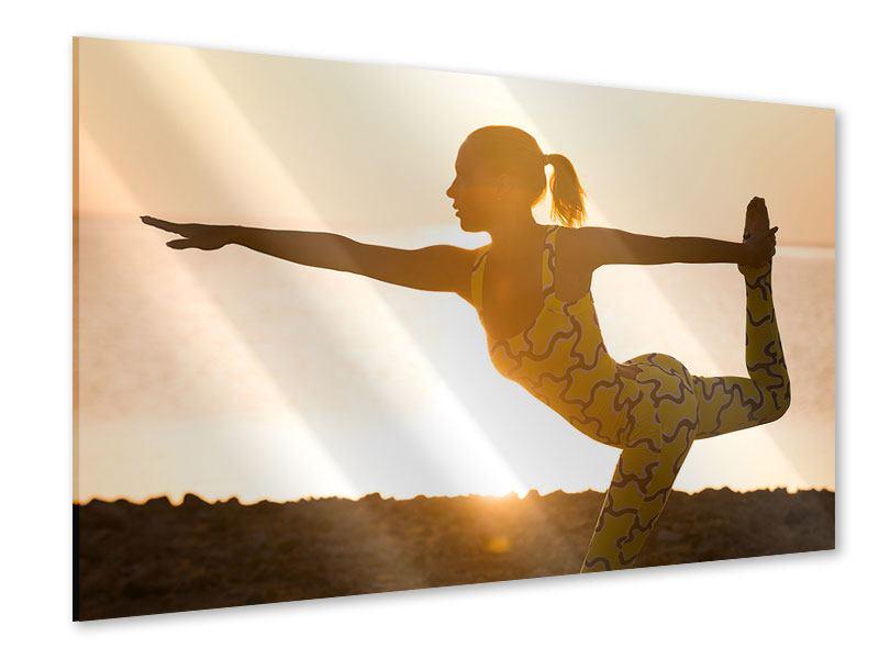 Acrylglasbild Yoga bei Sonnenuntergang