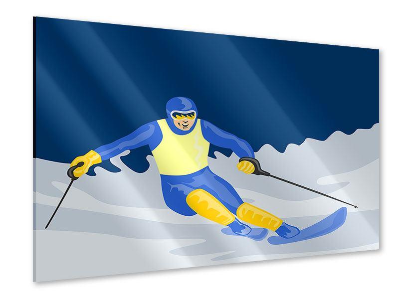 Acrylglasbild Skifahrer im Retrostyle