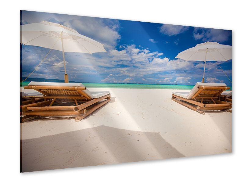 Acrylglasbild Liegen am Strand